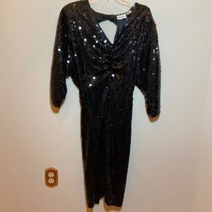 Vintage Oleg Cassini Black Sequin Dress Sz 12